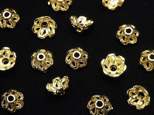 【動画】メタルパーツ ビーズキャップ6×6×3.5mm ゴールドカラー 10個