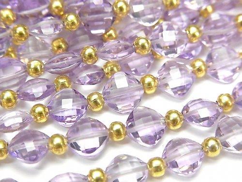 【動画】宝石質ピンクアメジストAAA ダイヤカット(クッションカット)7×7mm 半連/1連(26粒)