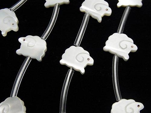【動画】高品質マザーオブパールAAA ホワイト 羊シェイプ11×9mm 半連/1連(約14粒)