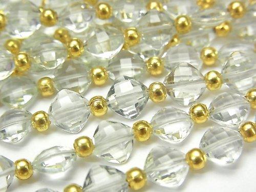 【動画】宝石質グリーンアメジストAAA ダイヤカット(クッションカット)7×7mm 半連/1連(26粒)