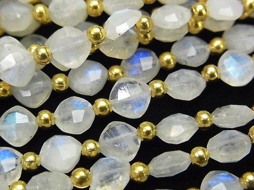 【動画】宝石質レインボームーンストーンAAA- ダイヤカット(クッションカット)7×7mm 半連/1連(26粒)