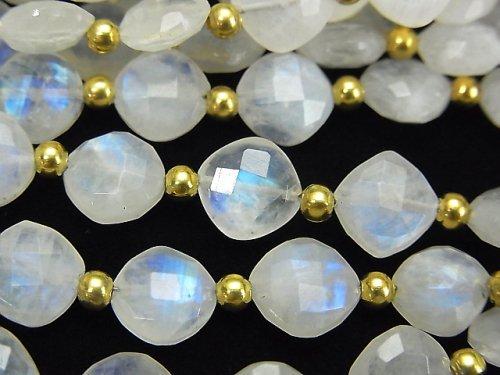 【動画】宝石質レインボームーンストーンAAA- ダイヤカット(クッションカット)9×9mm 半連/1連(18粒)