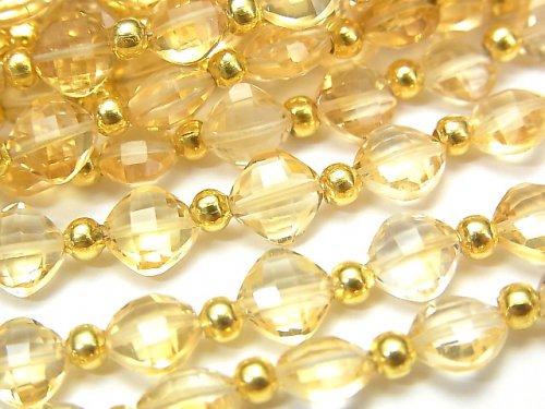 【動画】宝石質シトリンAAA ダイヤカット(クッションカット)7×7mm 半連/1連(26粒)