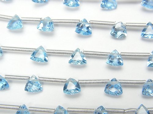 【動画】宝石質スイスブルートパーズAAA- トライアングルファセットカット4×4mm 1連(18粒)
