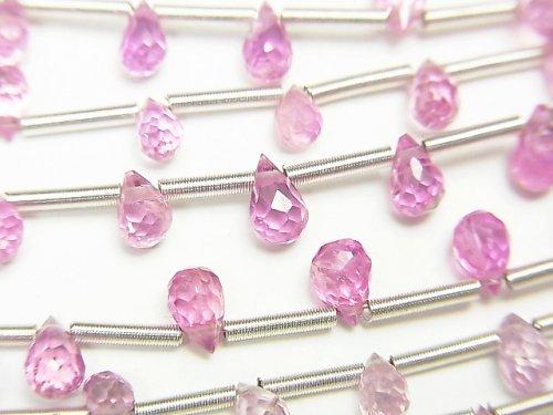 【動画】宝石質ピンクサファイアAAA ドロップ ブリオレットカット 1連(約17cm)
