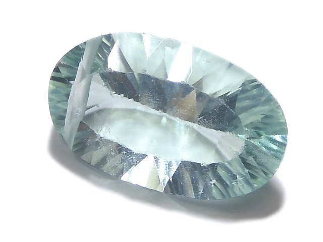 【動画】【1点もの】宝石質グリーンフローライトAAA コンケーブカット 1粒 NO.232