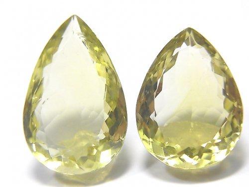 【動画】【1点もの】宝石質レモンクォーツAAA 大粒ファセットカット 2粒 NO.29
