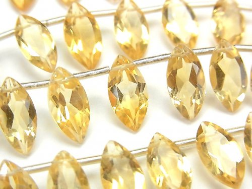 【動画】宝石質シトリンAAA マーキス ファセットカット12×6mm 半連/1連(18粒)