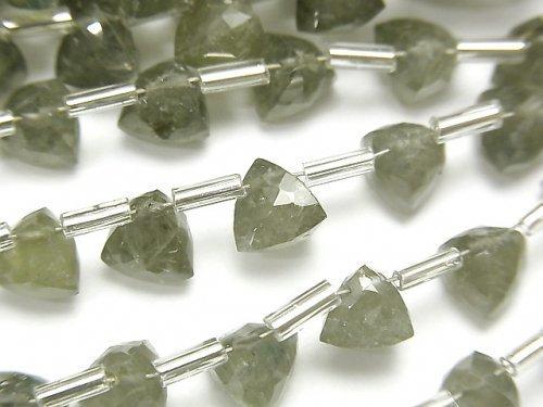 【動画】宝石質モスアクアマリンAA++ 立体トライアングルカット6×6×6mm 半連/1連(18粒)