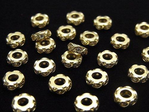 メタルパーツ ロンデル6×6×2mm ゴールド(CZ付) 2個
