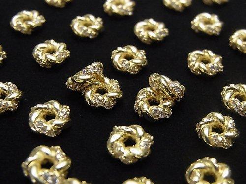 メタルパーツ ロンデル7×7×3mm ゴールド(CZ付) 2個