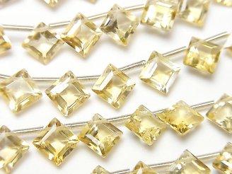 【動画】宝石質シトリンAAA ダイヤファセットカット8×8mm 半連/1連(18粒)