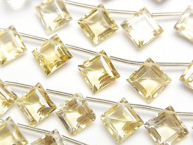 【動画】宝石質シトリンAAA ダイヤファセットカット11×11mm 半連/1連(12粒)