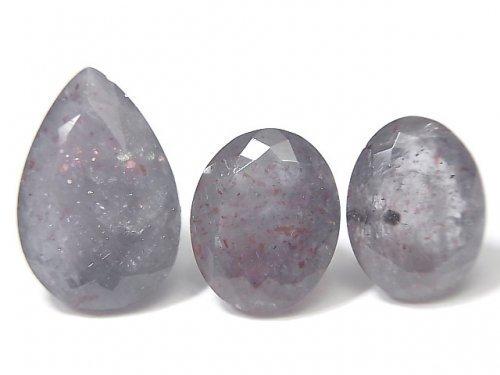 【動画】【1点もの】宝石質ブラッドショットアイオライトAAA- ファセットカット 3個セット NO.109