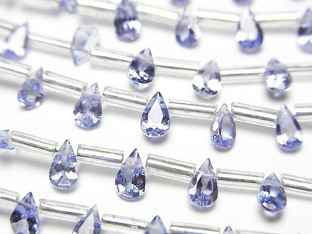【動画】宝石質タンザナイトAAA ペアシェイプファセットカット5×3mm 1連(18粒)