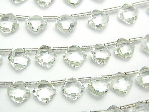 【動画】宝石質グリーンアメジストAAA ダイヤカット(クッションカット)7×7mm 半連/1連(18粒)