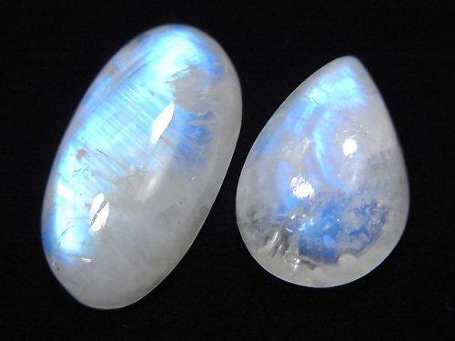 【動画】【1点もの】インド産宝石質レインボームーンストーンAAA- カボション 2個セット NO.26
