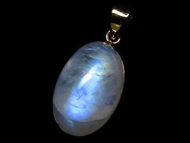 【動画】【1点もの】インド産宝石質レインボームーンストーンAAA- ペンダントトップ 18KGP製 NO.74