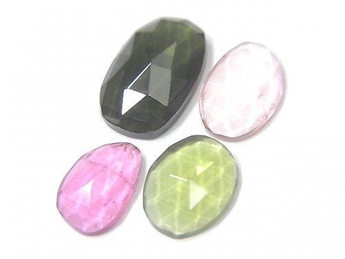 【動画】【1点もの】宝石質トルマリンAAA フリーフォーム(片面カット) 4粒セット NO.16