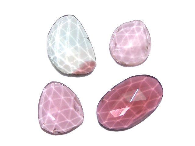 【動画】【1点もの】宝石質トルマリンAAA フリーフォーム(片面カット) 4粒セット NO.18