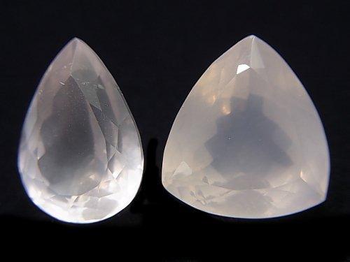 【動画】【1点もの】宝石質ローズクォーツAAA 大粒ファセットカット 2粒 NO.15