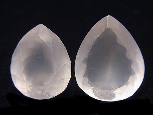 【動画】【1点もの】宝石質ローズクォーツAAA 大粒ファセットカット 2粒 NO.17