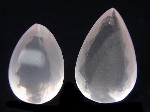 【動画】【1点もの】宝石質ローズクォーツAAA 大粒ファセットカット 2粒 NO.18