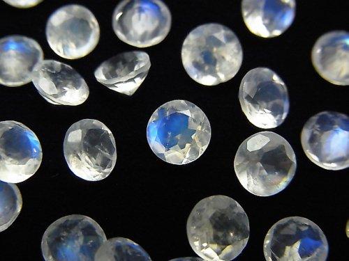 【動画】宝石質レインボームーンストーンAAA' 穴なしラウンドファセットカット5×5×3mm 5粒