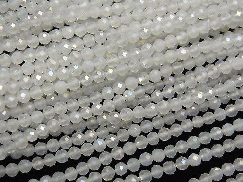 【動画】【素晴らしい輝き】宝石質ホワイトカルセドニーAAA ラウンドカット3mm コーティング 1連(約37cm)