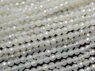 【動画】【素晴らしい輝き】宝石質ホワイトカルセドニーAAA ラウンドカット4mm コーティング 1連(約37cm)
