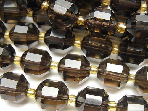 【動画】宝石質スモーキークォーツAAA ダブルポイント チューブカット10×9mm 1連(約36cm)