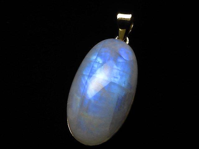 【動画】【1点もの】インド産宝石質レインボームーンストーンAAA- ペンダントトップ 18KGP製 NO.112