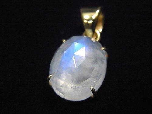 【動画】【1点もの】インド産宝石質レインボームーンストーンAAA カット入りペンダントトップ 18KGP製 NO.6