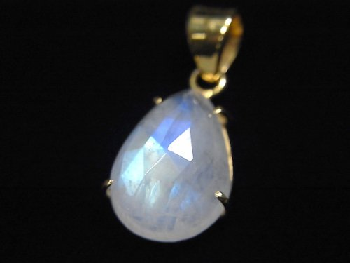 【動画】【1点もの】インド産宝石質レインボームーンストーンAAA カット入りペンダントトップ 18KGP製 NO.7