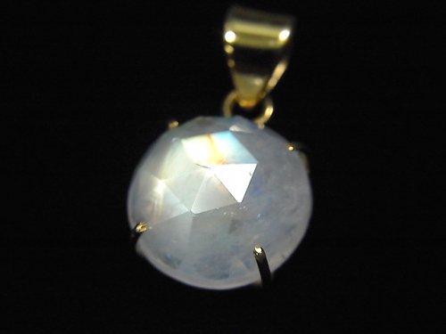 【動画】【1点もの】インド産宝石質レインボームーンストーンAAA カット入りペンダントトップ 18KGP製 NO.8