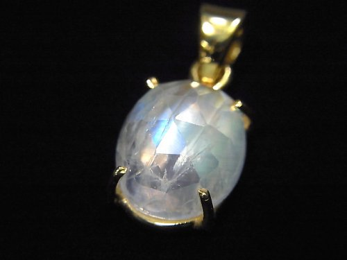 【動画】【1点もの】インド産宝石質レインボームーンストーンAAA カット入りペンダントトップ 18KGP製 NO.9