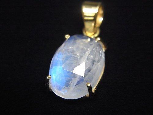 【動画】【1点もの】インド産宝石質レインボームーンストーンAAA カット入りペンダントトップ 18KGP製 NO.12