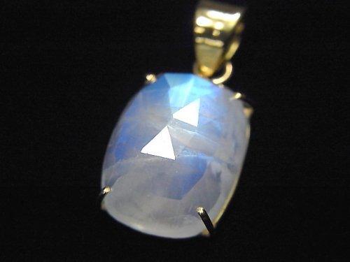【動画】【1点もの】インド産宝石質レインボームーンストーンAAA カット入りペンダントトップ 18KGP製 NO.14