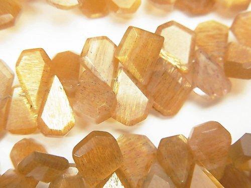 【動画】宝石質ゴールデンシャインムーンストーンAAA ラフスライスカット 半連/1連(約18cm)