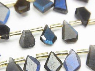 【動画】宝石質ブラックラブラドライトAAA- ラフスライスカット 1連(約18cm)