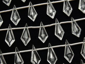 【動画】宝石質クリスタルAAA 変形ダイヤカット15×6mm 1連(9粒)