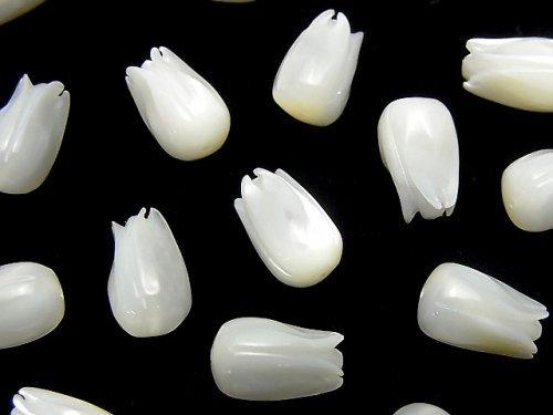 【動画】高品質ホワイトシェル(白蝶貝)AAA 花のつぼみ11×7×7mm 【片穴】 2個