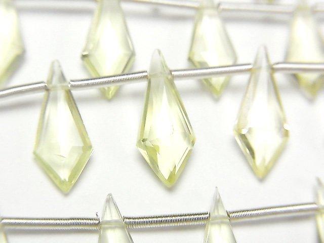 【動画】宝石質レモンクォーツAAA 変形ダイヤカット15×6mm 1連(9粒)