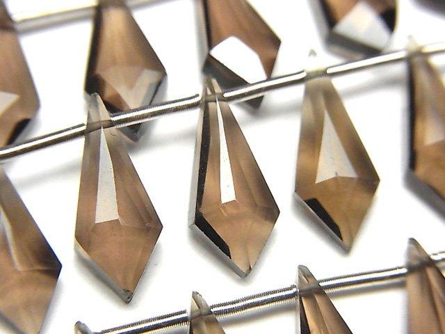 【動画】宝石質スモーキークォーツAAA 変形ダイヤカット15×6mm 1連(9粒)