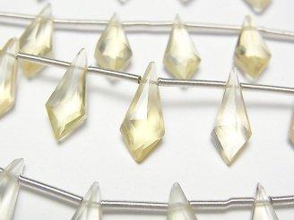 【動画】宝石質シトリンAAA 変形ダイヤカット15×6mm 1連(9粒)