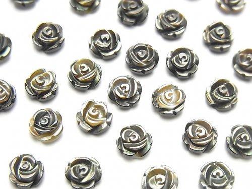 【動画】高品質ブラックシェル(黒蝶貝)AAA 薔薇6mm 【片穴】 4粒