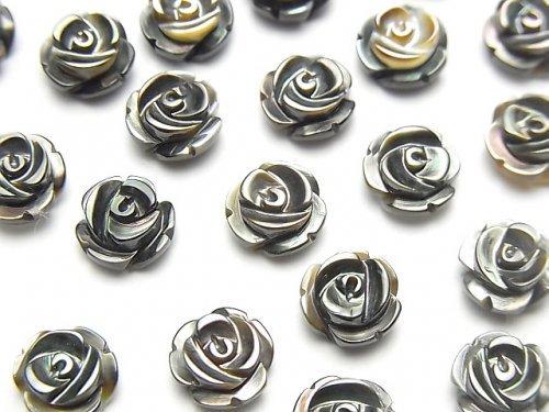 【動画】高品質ブラックシェル(黒蝶貝)AAA 薔薇8mm 【片穴】 4粒