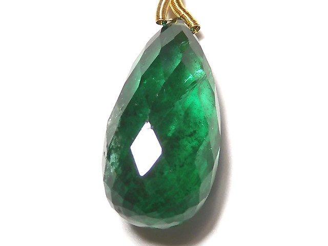 【動画】【1点もの】ザンビア産宝石質エメラルドAAA+ ペアシェイプ ブリオレットカット 1粒 NO.6