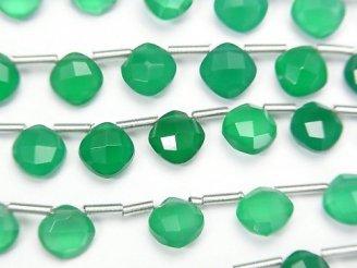 【動画】宝石質グリーンオニキスAAA ダイヤカット(クッションカット)7×7mm 1連(18粒)