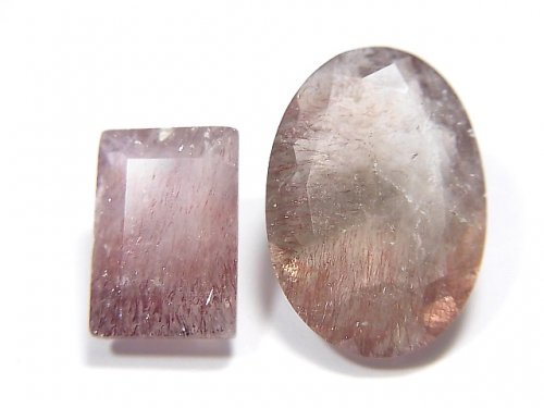 【動画】【1点もの】宝石質ブラジル産ゲーサイトインクォーツAA++ ファセットカット 2粒セット NO.111